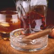 Stock Photo: Whisky and cigar
