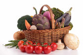 Wicker basket with vegetable — Stock Photo