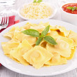 Ravioli and tomato sauce — Stock Photo