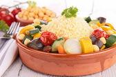Tajine with vegetarian couscous — Stock Photo