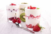 Yoghurt and fruits — Stock Photo