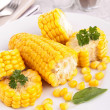 Stock Photo: Two corn on plate