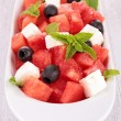 Stock Photo: Fruit salad with watermelon and feta
