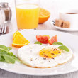 Egg heart, breakfast — Stock Photo