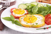 Fried egg on bell pepper — Stock Photo