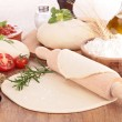 Dough pizza with ingredient — Stock Photo