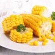 Plate with corn — Stock Photo