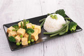 Tofu and rice — Stock Photo
