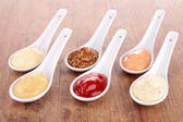Mayonnaise,ketchup,mustard and other sauce — Stock Photo
