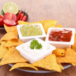 Tortilla chips and dips — Stock Photo #30396865