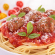 Spaghetti with tomato sauce and meatballs — Stock Photo #30868729