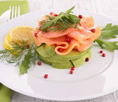 Avocado and smoked salmon — Stock Photo