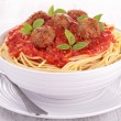 Spaghetti with tomato sauce and meatballs — Stock Photo