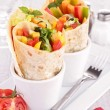 Tortilla wrap with vegetables — Stock Photo