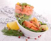 Smoked salmon on the plate — Stock Photo