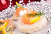 Christmas or new year toast, canape — Stock Photo