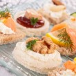 Assortment of canape,toast — Stock Photo