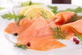 Close up on smoked salmon — Stock Photo