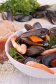 Bowl of crustacean soup — Stock Photo