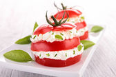Appetizer, tomato and cheese — Stock Photo
