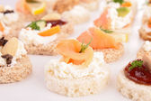 Assortment of canapes, toast — Stock Photo