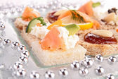 Assortment of canapes — Stock Photo