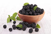 Bowl of blackberries fruit — Stock Photo