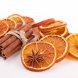 Christmas decoration: orange, cinnamon and star anise — Stock Photo