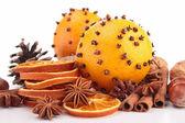 Christmas decoration: orange, cinnamon and star anise — Stock Photo