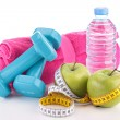 Dieting food and fitness equipment — Stock Photo