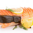 Stock Photo: Salmon garnish with scallop