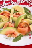 Salmon and avocado — Stock Photo