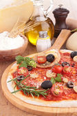 Pizza with ingredient — Stock Photo