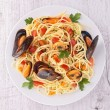 Spaghetti and crustacean — Stock Photo