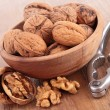 Stock Photo: Walnut and nutcracker
