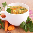 Bowl of soup and vegetables — Stock Photo #33363081