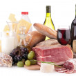 Meat,wine and dairy products — Stock Photo