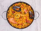 Paella in pot close up — Stock Photo