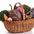Isolated wicker basket with vegetables — Stock Photo