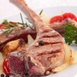 Roasted lamb chop and vegetables — Stock Photo