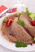 Buckwheat crepe with salad — Stock Photo