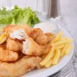 Fish chips salad sauce — Stock Photo