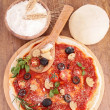 Raw pizzdough and ingredient — Foto Stock #34996685