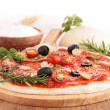 Raw pizzdough and ingredient — Foto Stock #34998775