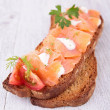 Stock Photo: Bruschetta, bread and salmon