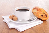 Coffee cup croissant — Stock Photo