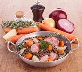 Legume and meat — Stock Photo