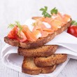 Bread with cream and salmon — Stock Photo