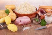 Sauerkraut and ingredients — Stock Photo