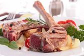 Grilled lamb chop with vegetable — Stock Photo